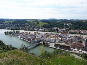 Blick auf Passau mit Zusammenfluss von Inn und Donau